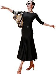 baratos -Dança de Salão Vestidos Mulheres Treino Seda Sintética Estampa Manga 3/4 Natural Vestido