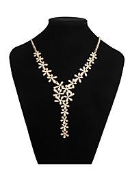 Недорогие -Y Ожерелье - В форме листа Милая, Элегантный стиль Золотой 42 cm Ожерелье Назначение Свадьба, Для вечеринок