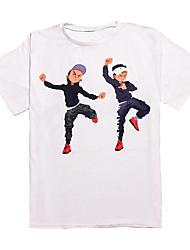 baratos -Homens Tamanhos Grandes Camiseta Básico Retrato Algodão Decote Redondo / Manga Curta / Longo