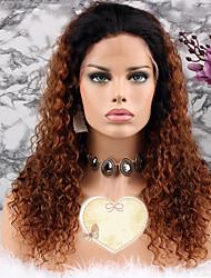 baratos -Cabelo Remy Peruca Cabelo Brasileiro Encaracolado Corte em Camadas 130% Densidade Com Baby Hair Marrom Curto Longo Comprimento médio