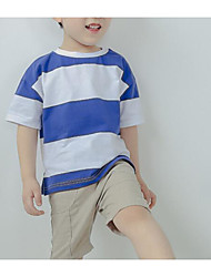 cheap -Boys' Daily Striped Tee, Polyester Summer Short Sleeves Basic Blue Navy Blue