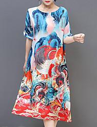 cheap -Women's Plus Size Going out Holiday Boho Loose Shift Swing Dress - Geometric Print