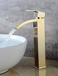 abordables -Robinet lavabo - Jet pluie Ti-PVD Set de centre Mitigeur un trou