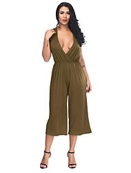 cheap -Women's Plus Size Going out Cotton Loose Jumpsuit - Solid Colored, Cut Out Deep V