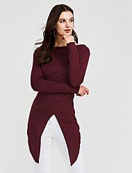 abordables -Mujer Algodón Camiseta Un Color / Patrones florales