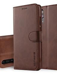 abordables -Funda Para Huawei P20 Pro P20 Cartera con Soporte Flip Funda de Cuerpo Entero Un Color Dura Cuero de PU para Huawei P20 lite Huawei P20