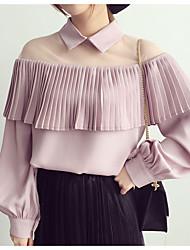 Недорогие -Жен. Плиссировка Пэчворк Рубашка Классический Однотонный