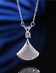 cheap -Women's Leaf Cubic Zirconia Rhinestone Sterling Silver Pendant Necklace  -  Asian Classic Geometric Silver Necklace For Wedding Daily