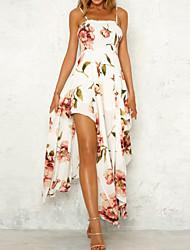 baratos -Mulheres Feriado Básico Delgado Bainha Chifon Vestido Floral Geométrica Com Alças Médio