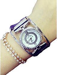 abordables -Femme Quartz Montre Bracelet Japonais Chronographe / Imitation de diamant Alliage Bande Luxe / Etincelant Argent / Doré / Or Rose