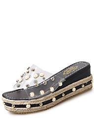 お買い得  -女性用 靴 PUレザー 春 コンフォートシューズ スリッパ&フリップ・フロップ フラットヒール ラウンドトウ イミテーションパール のために カジュアル ブラック ベージュ