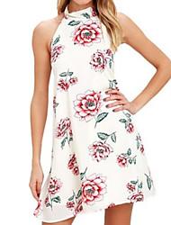 baratos -Mulheres Básico Evasê Vestido - Estampado, Floral Acima do Joelho