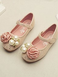 cheap -Girls' Shoes Lace Spring Fall Flower Girl Shoes Comfort Flats for Casual White Pink