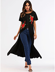 cheap -Women's Basic Boho Shift Swing Dress - Floral, Embroidered