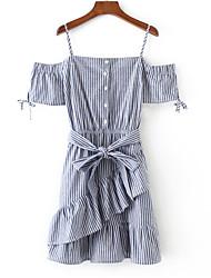 baratos -Mulheres Feriado Evasê Vestido - Laço Frufru, Listrado Com Alças Ombro a Ombro Acima do Joelho