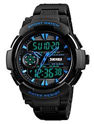 baratos -SKMEI Homens Digital Relógio Esportivo Japanês Alarme Cronógrafo Impermeável Cronômetro Dois Fusos Horários PU Banda Casual Fashion Preta