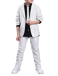 cheap -Boys' Daily School Solid Striped Print Clothing Set,Cotton Polyester Spring Fall Long Sleeve Casual Street chic Black White
