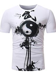 abordables -Tee-shirt Homme, Couleur Pleine Imprimé Chic de Rue Noir & Blanc