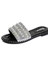 cheap -Women's Shoes Rubber Summer Comfort Sandals Flat Heel White / Black