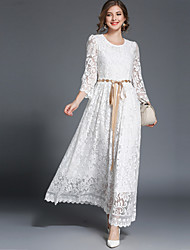 cheap -Women's Vintage / Street chic Swing Dress - Solid Colored Lace High Waist Maxi