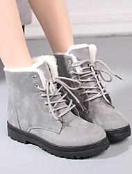 Недорогие -Жен. Обувь Полиуретан Осень / Зима Зимние сапоги Ботинки На низком каблуке Круглый носок Ботинки Черный / Серый / Коричневый