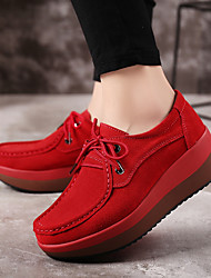 Недорогие -Жен. Полиуретан Весна / Осень Удобная обувь Кеды На плоской подошве Серый / Красный / Синий