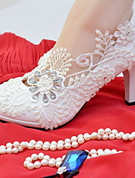 cheap -Women's Shoes Lace / Leatherette Spring / Fall Comfort Wedding Shoes Stiletto Heel Round Toe Rhinestone / Imitation Pearl White