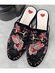 Недорогие -Жен. Обувь Нубук Весна / Лето Удобная обувь Башмаки и босоножки На плоской подошве Черный / Синий