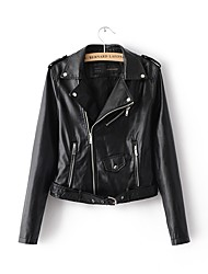 cheap -Women's Basic Leather Jacket-Solid Colored