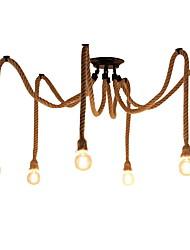 cheap -6-Head Vintage Industrial Hemp Rope Chandelier Living Room Restaurant Bars Pendant Lights Clothing Store Light