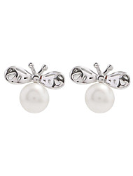 cheap -Women's Pearl Stud Earrings - S925 Sterling Silver Bee Simple, Sweet Silver For Gift / Daily