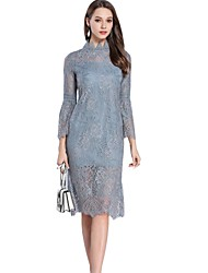 cheap -SHE IN SUN Women's Basic Street chic Flare Sleeve Sheath Trumpet / Mermaid Dress - Solid Colored Lace