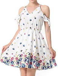 baratos -Mulheres Evasê Vestido - Estampado, Floral Ombro a Ombro Acima do Joelho