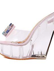 preiswerte -Damen Schuhe Kunstleder Sommer Pumps Komfort Sandalen Keilabsatz für Rosa Mandelfarben