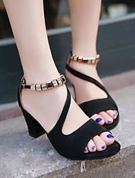 preiswerte -Damen Schuhe PU Sommer Komfort Sandalen Blockabsatz Peep Toe Schnalle für Draussen Schwarz Grau Rosa