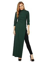 cheap -BENEVOGA Women's Plus Size Going out Street chic Slim Sheath T Shirt Tunic Dress - Solid Colored Split High Waist Maxi Crew Neck