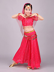 cheap -Belly Dance Outfits Girls' Performance Polyester Chiffon Beading Gold Coin Short Sleeves Dropped Skirts Top Hip Scarf Veil Bracelets