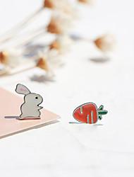 Недорогие -Жен. Серьги-гвоздики - Стерлинговое серебро S925 Rabbit, Морковь Простой, Мультяшная тематика Цвет радуги Назначение Подарок / Повседневные