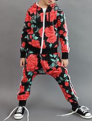 povoljno -Djevojčice Pamuk Cvjetni print Dnevno Proljeće Jesen Dugih rukava Komplet odjeće Cvijetan Crvena