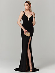 cheap -Mermaid / Trumpet Plunging Neck Sweep / Brush Train Jersey Open Back Cocktail Party / Prom / Formal Evening Dress with Split Front by TS Couture®