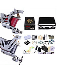 cheap -Tattoo Machine Professional Tattoo Kit 2 steel machine liner & shader High Quality LCD power supply 2 x aluminum grip 50 Classic Daily