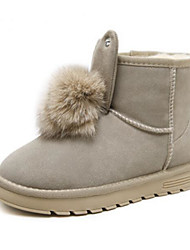 Недорогие -Жен. Обувь Мех Зима Удобная обувь / Зимние сапоги Ботинки На низком каблуке Ботинки Черный / Миндальный
