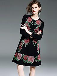 economico -Per donna Vintage Moda città Linea A Vestito - Con ricami, Fantasia floreale Al ginocchio