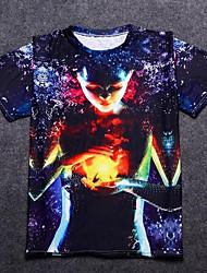 baratos -Homens Camiseta Básico Estampado, Geométrica / Retrato Algodão Decote Redondo / Manga Curta