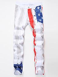cheap -Men's Plus Size Cotton Slim Jeans Pants - Rainbow