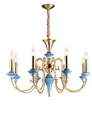 billige -ZHISHU 8-Light Candle-stil Lysestager Op Lys - Ministil, Stearinlys Stil, 110-120V / 220-240V Pære ikke Inkluderet / 10-15㎡