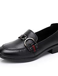 Недорогие -Жен. Обувь Кожа Весна / Осень Удобная обувь Мокасины и Свитер На толстом каблуке Черный