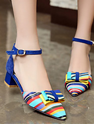 cheap -Women's Shoes PU(Polyurethane) Spring / Fall Comfort / Novelty Heels Low Heel Bowknot / Buckle Black / Red / Blue / Party & Evening
