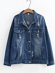 cheap -Women's Going out Street chic Denim Jacket - Solid Colored Shirt Collar
