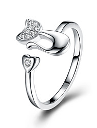 cheap -Women's Cubic Zirconia Zircon Band Ring - Circle Formal / Fashion Silver Ring For Other / Daily